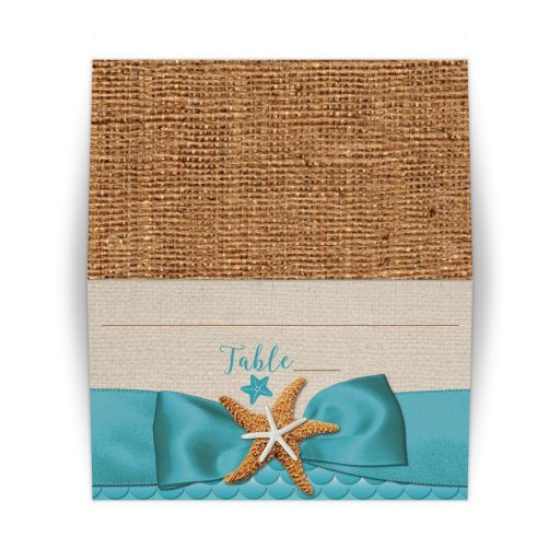 ​Rustic turquoise blue beach theme Bat Mitzvah place card with burlap, ribbon, bow, and star fish.