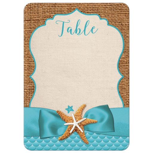 ​Rustic turquoise blue beach theme Bat Mitzvah table number card with burlap, ribbon, bow, and two starfish.