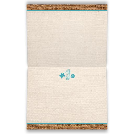 Rustic turquoise or teal blue beach theme folded thank you card with burlap, linen, ribbon, bow, starfish, sea shells, and sea horse.