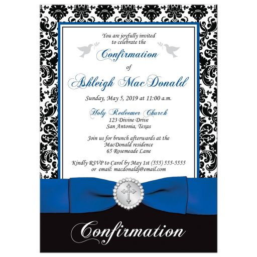 Royal blue, black and white damask confirmation, first communion, baptism invitation with a printed ribbon, bow, jeweled brooch with silver cross, and doves.