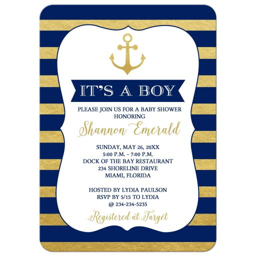 Gold and Navy Blue Anchor Boy Baby Shower Invitations