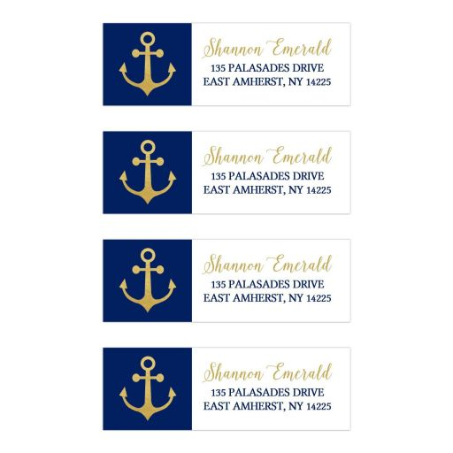 Gold Anchor and Navy Blue Nautical Address Labels