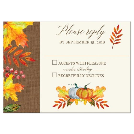 Autumn Fall Leaves Wedding RSVP Card