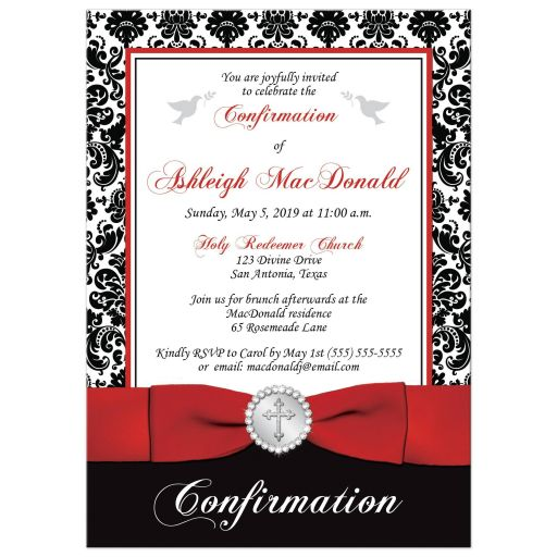 Red, black and white damask confirmation, first holy communion, baptism invitation with a printed ribbon, bow, jeweled brooch with silver cross, and doves.