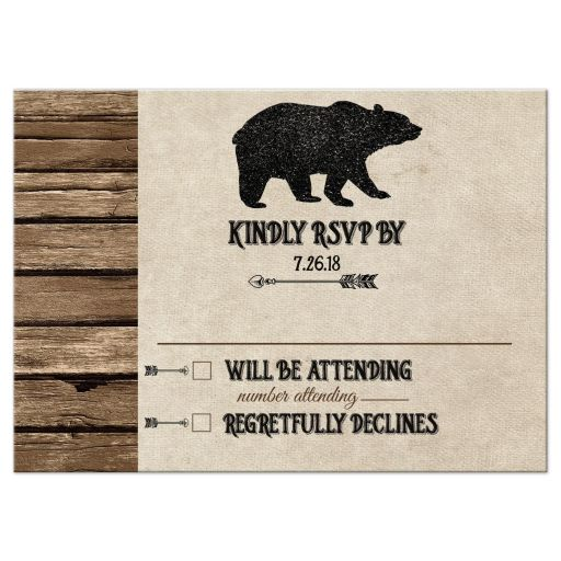 Rustic Bear Lodge Wedding RSVP Enclosure Cards