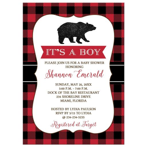 Lumberjack Bear Hunter Boy Baby Shower Invitation