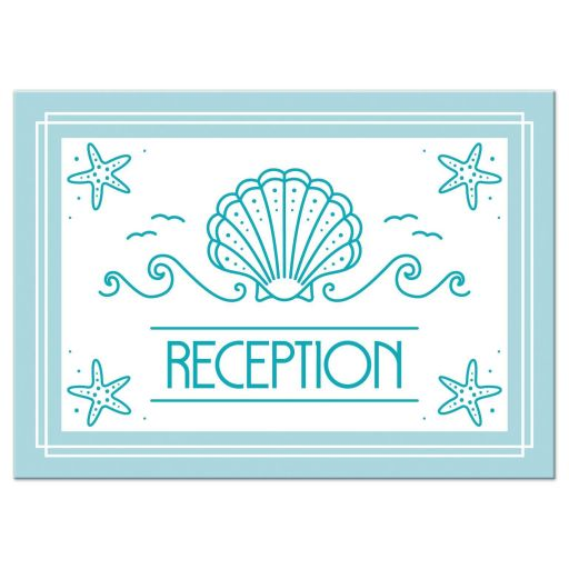 Simple Modern Beach Bat Mitzvah Reception Card