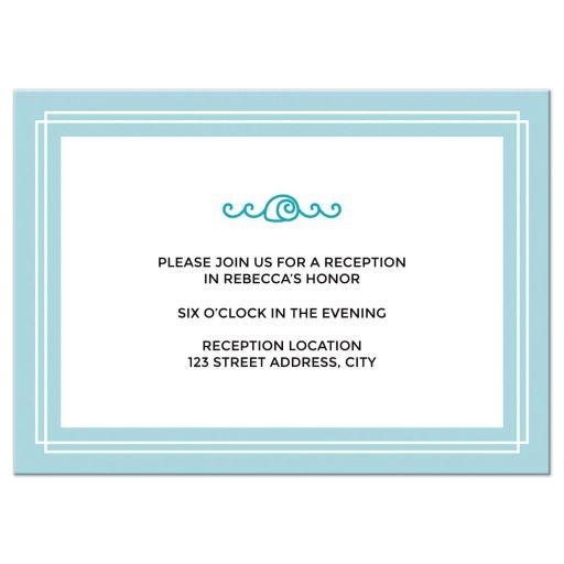 Elegant beach bat mitzvah reception cards