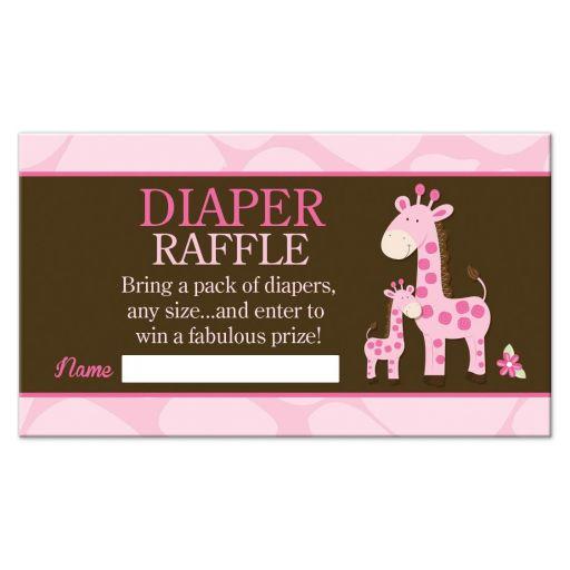 Pink Giraffe Girl Baby Shower Diaper Raffle Cards