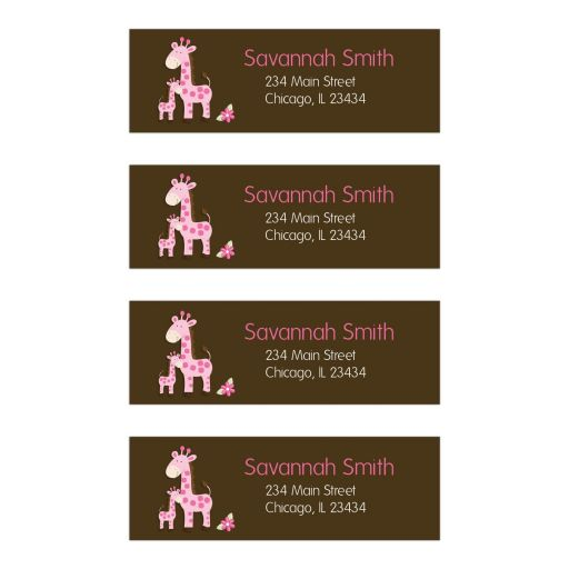 Pink Giraffe Return Address Labels