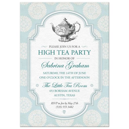 Tea Party Bridal Shower Invitation | Victorian Teapot Blue Rosettes