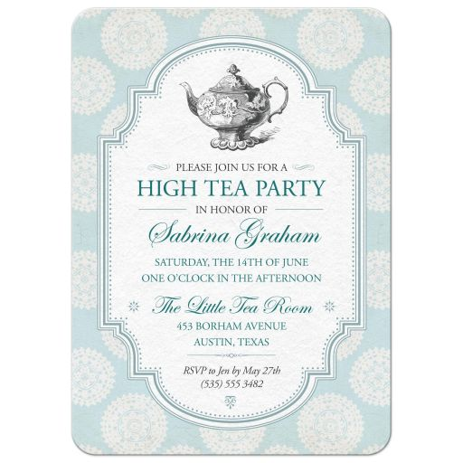 Victorian High Tea Bridal Shower Party Invitation | Blue Rosettes