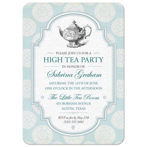 Victorian High Tea Bridal Shower Party Invitation | Blue Rosettes