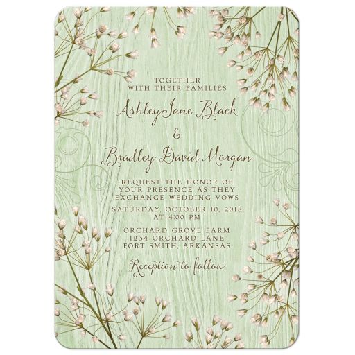 ​Rustic mint green wood (woodgrain) baby's breath wedding invitation front