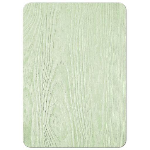 Rustic mint green wood (woodgrain) baby's breath wedding invitation back