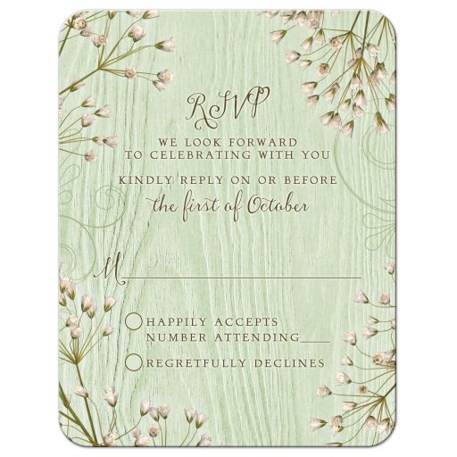 Rustic mint green wood (woodgrain) baby's breath wedding RSVP card front