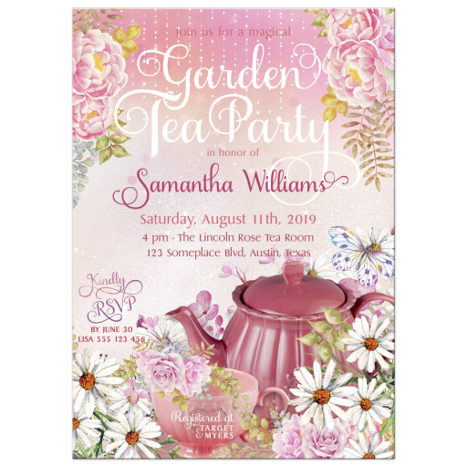 Tea Party Bridal Shower Invitation | Magical Garden Flowers Butterflies