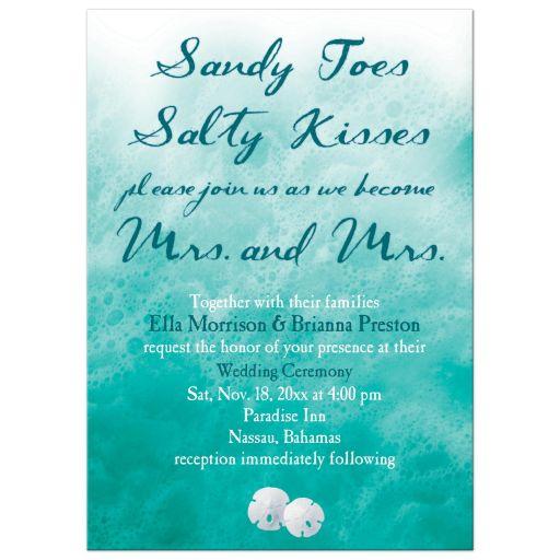 Lesbian Turquoise Ocean Waves Wedding Invitation