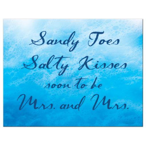 Lesbian Blue Ocean Waves Save the Date Postcard