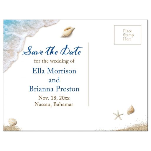 Lesbian Blue Ocean Waves Save the Date Postcard