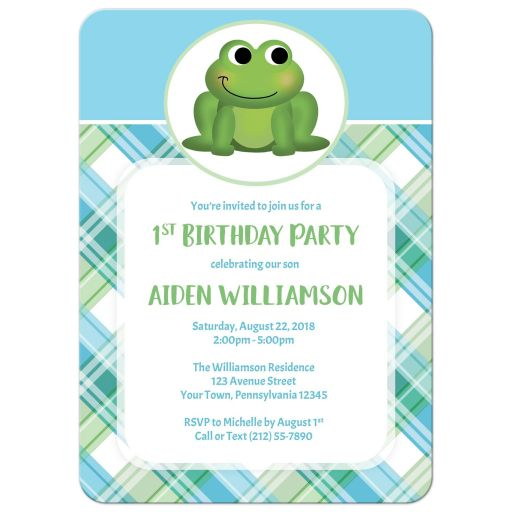 Birthday Party Invitations - Adorable Frog Green and Blue Plaid