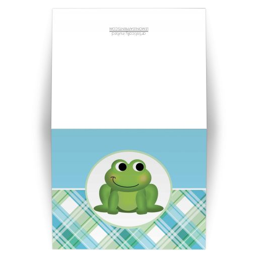 Note Cards - Adorable Frog Green and Blue Plaid