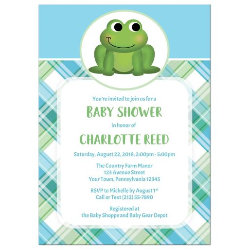 Baby Shower Invitations - Adorable Frog Green and Blue Plaid