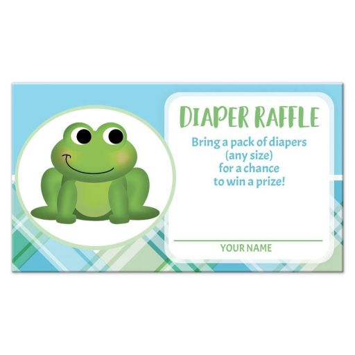 Diaper Raffle Cards - Adorable Frog Green and Blue Plaid
