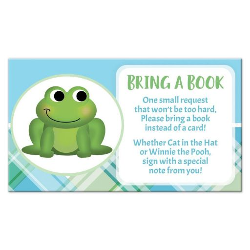 Bring a Book Cards - Adorable Frog Green and Blue Plaid