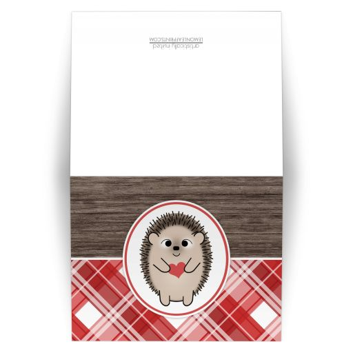 Note Cards - Rustic Hedgehog Heart Red Plaid