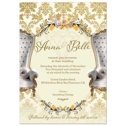 Gold Damask Vintage Wedding Invitation