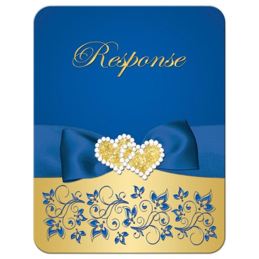 Royal blue and gold floral golden 50th wedding anniversary response reply RSVP enclosure card insert with ribbon, bow, jewels, joined hearts, and glitter.