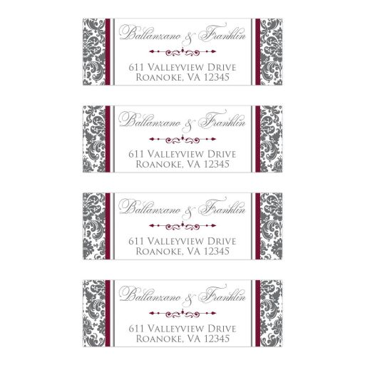 Personalized burgundy wine, charcoal grey gray and white damask pattern return address mailing labels with decorative scroll.