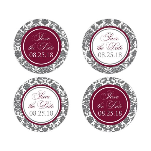 Burgundy wine, charcoal grey gray and white damask pattern wedding save the date envelope seals or favor stickers.