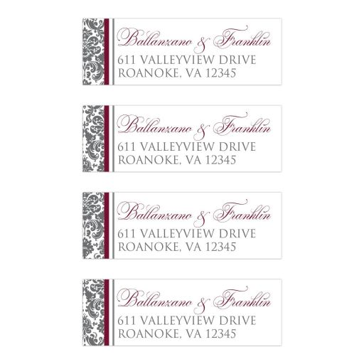 Personalized burgundy wine, charcoal grey gray and white damask pattern return address mailing labels.
