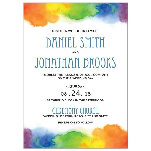 Gay pride wedding invitations with rainbow watercolour borders