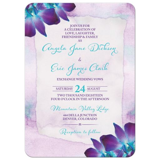 Turquoise and purple blue Dendrobium orchid flower wedding invitation front