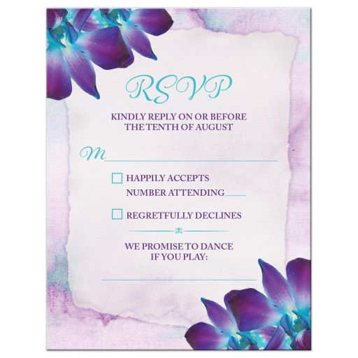 Blue Dendrobium orchid wedding RSVP card purple turquoise watercolor background