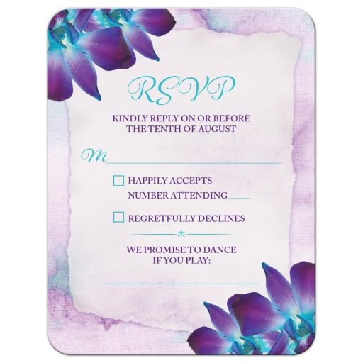 Turquoise and purple blue Dendrobium orchid flower wedding RSVP card front