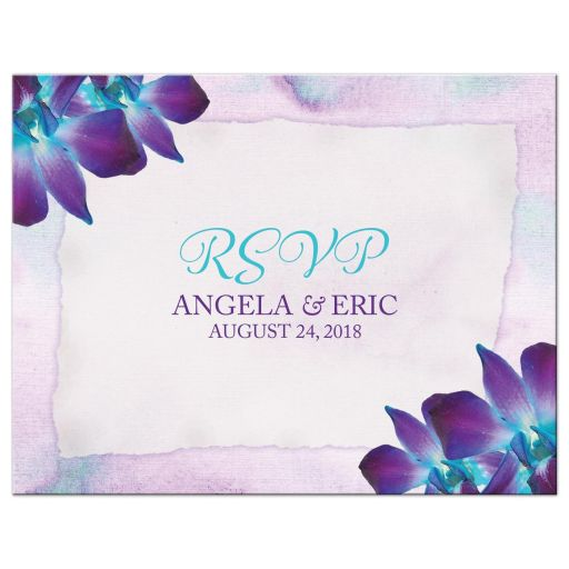 Blue Dendrobium orchid wedding RSVP postcard purple turquoise watercolor background