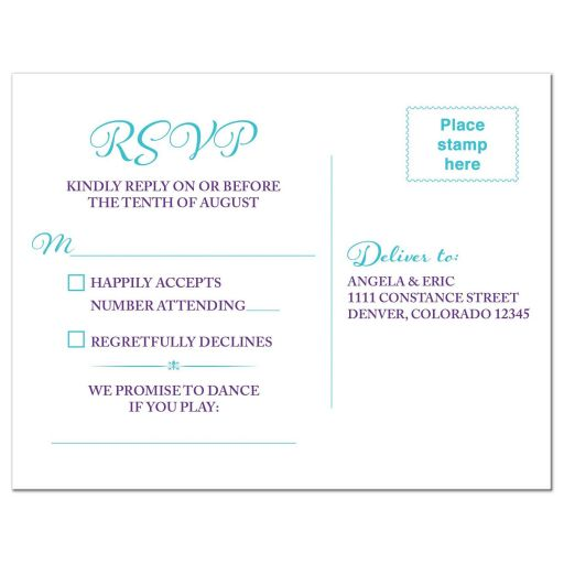 Turquoise and purple blue Dendrobium orchid flower wedding RSVP postcard back