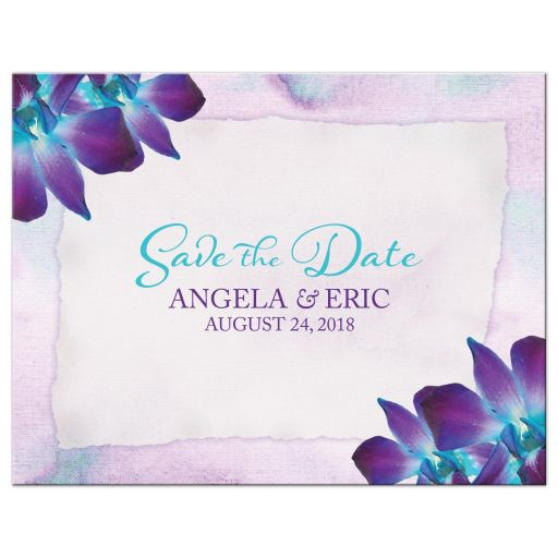 Blue Dendrobium orchid wedding save the date postcard purple turquoise watercolor background