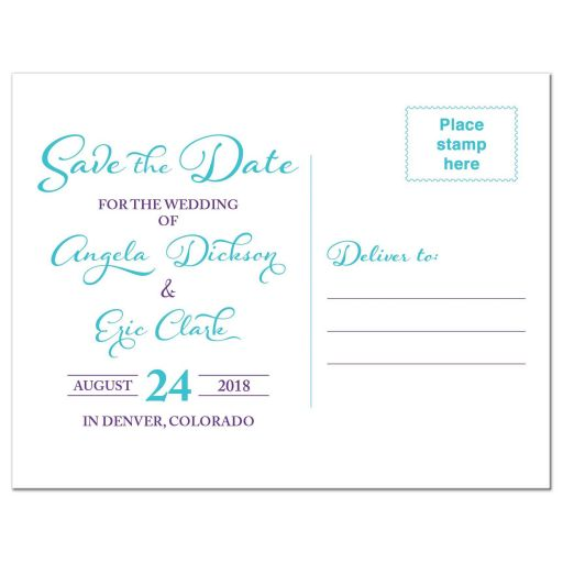 Turquoise and purple blue Dendrobium orchid flower wedding save the date postcard back
