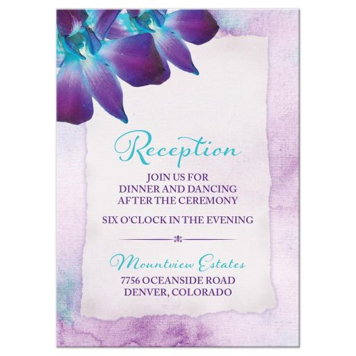Turquoise and purple blue Dendrobium orchid flower wedding reception insert card front