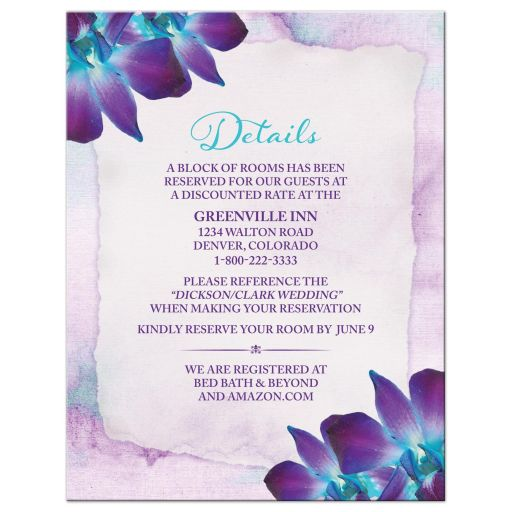 Blue Dendrobium orchid wedding details card purple turquoise watercolor background
