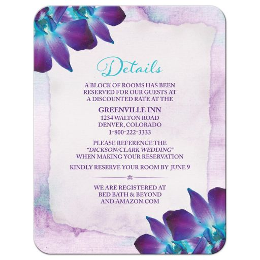Turquoise and purple blue Dendrobium orchid flower wedding details card front