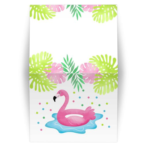 Flamingo Pool Party Tropical Thank you note card