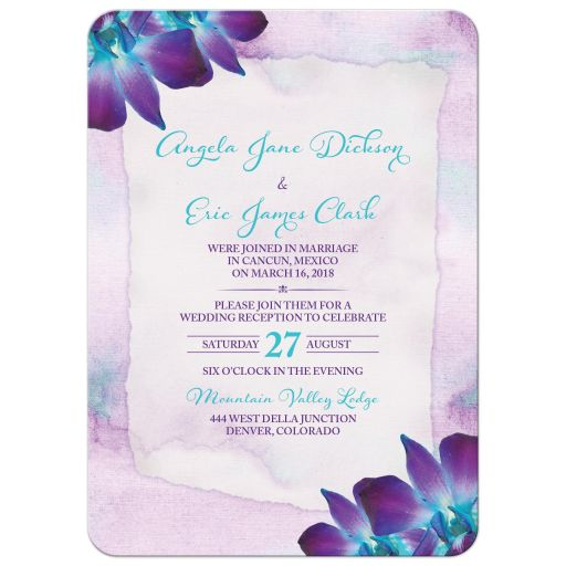 Purple and turquoise blue Dendrobium orchid flower post wedding reception only invitation front