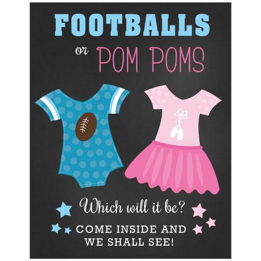 Footballs or Pom Poms Gender Reveal Baby Shower Sign 11 x 14