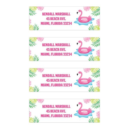 Flamingo Pool Party Tropical Customized Address Mailing Labels